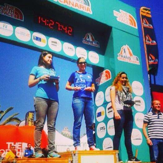 Rocío en el podio de la Transgrancanaria Promo 2014